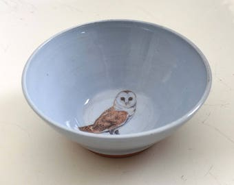 Barn owl, bird bowl, nature lovers gift,  bird lovers gift, birdwatchers, bird bowl, handmade, bird lovers, mother's day gift