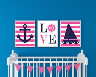 Nautical Art Prints - Nautical Nursery Decor - Navy Blue and Hot Pink - Girls Nautical Nursery Art - Anchor and Sailboat  - 11x14