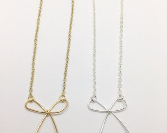 Handmade Darling Bow Necklace - Available in gold or silver plated