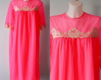 Vintage Pink Chiffon Nightgown, Chiffon Nightgown, 1960s NIghtgown, Canadian Maid, Pink Chiffon Nightgown, Nightgown
