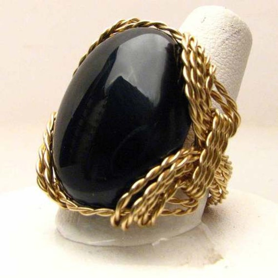 Handmade 14kt Gold Filled Wire Wrapped Black Onyx Goth Artisan Gemstone Ring