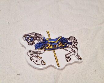 1993 Ceramic carosel horse magnet white horse