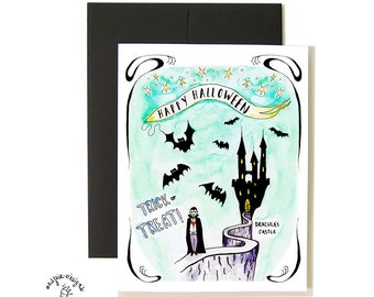 Dracula and Bats Halloween Card Set - A2 - Blank