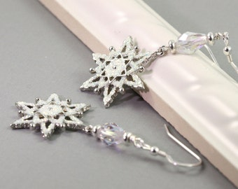 Holiday Jewelry Silver White Sparkle Snowflake Earrings Glitter Crystal Winter Fashion