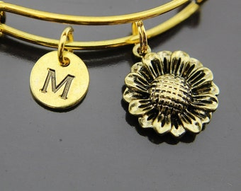 Gold Sunflower Charm Bangles, Gold Sunflower Charm Bracelet, Sunflower Charm, Expandable Bangle, Personalized Initial Bangle, Initial Charm