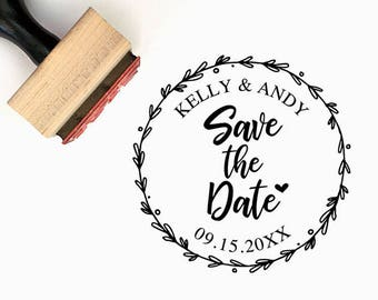 Save the date - Custom Wedding Pre-Designed Rubber Stamp - Branding, Packaging, Party, Invitations, Tags, Wedding Favors - W007