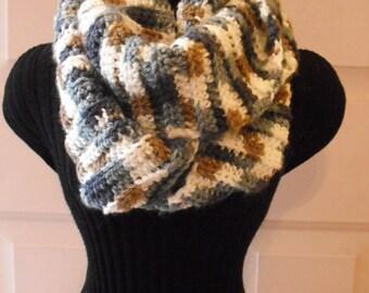 Blues/Browns/Cream Cowl, Women's Scarf, Infinity, Winter Scarf, Crocheted Scarf, Fashion Scarf
