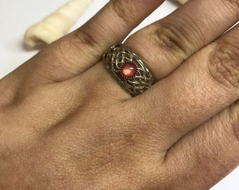 Silver Statement Ring with pink Stone L172