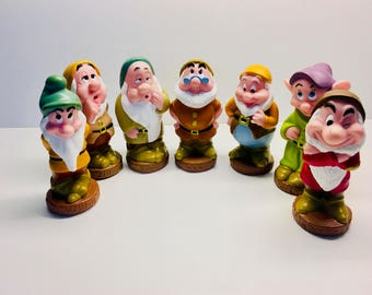 "Vintage Squeaky Toys,  Seven Dwarfs - 5 1/2"",  Set of Rubber Dwarfs"