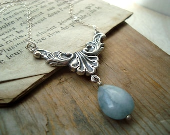 Blue Aquamarine Necklace With Antiqued Silver Setting Sterling Art Nouveau March Birthstone Bridesmaid Under 50 Bridal Vintage Style