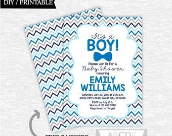 Blue Navy Boy Baby Shower Invitation Little Man Baby Shower DIY Printable ( SWCH201)