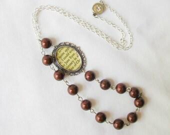 Jane Eyre Necklace - Swarovski Crystal Pearls Burgundy Marsala - Cameo Bridal Charlotte Bronte