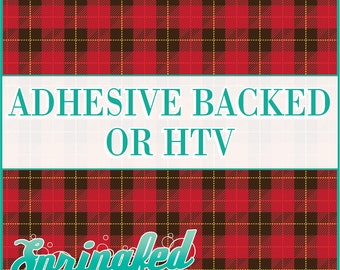 Red Scottish Plaid Pattern Adhesive Vinyl or HTV Heat Transfer Vinyl for Shirts Crafts and More!