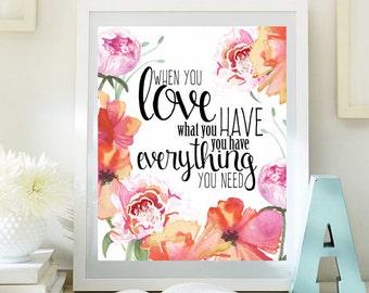 Great Dorm Wall Art Love Inspirational Print Teen Room Decor Digital Print  Motivational Art Romantic Quotes Love Art 8x10 INSTANT DOWNLOAD ID74 74