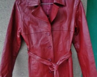 Veste en cuir vintage femme