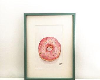 Donut painting watercolor doughnut watercolor food art original drawing freehand watercolor donut watercolor wall decor doughnut picture