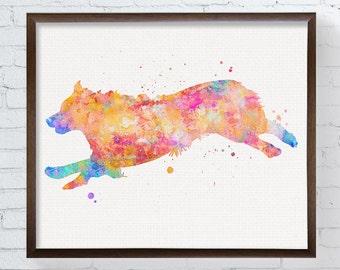Australian Shepherd Art, Australian Shepherd Print, Watercolor Australian Shepherd, Australian Shepherd Painting, Aussie, Running, Colorful