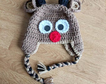 Rudolph Reindeer Hat Baby Toddler Adult