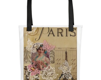 Paris Pink Butterfly Tote bag