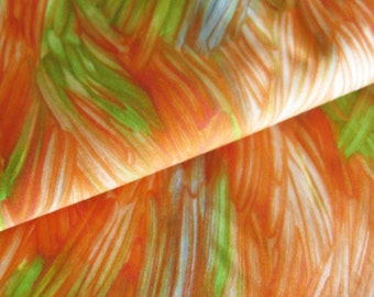 Vintage Cotton Sateen Fabric Bright Painterly Print in Oranges and Greens - All Cotton