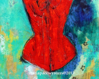 Fire Red Corset 2- Original mixed media painting by Maria Pace-Wynters