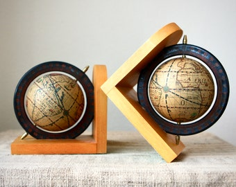Vintage Pair of Wooden Old World Globe Bookends