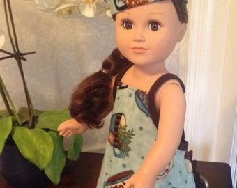 "18"" Doll / American Girl Doll Apron and Matching baker hat"