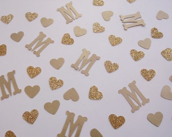 Monogram Confetti, Gold Wedding Shower Decor, Wedding Reception Table Scatter, Bridal Shower Decoration