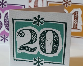 20th birthday card or porcelain wedding anniversary card - linocut design - 20 years old - 20 years married - 20th wedding anniversary