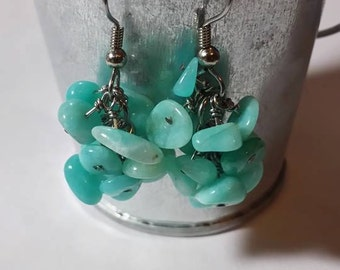 Genuine Amazonite Cluster Earrings