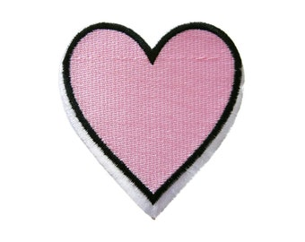 Pink Heart Embroidered Applique Iron on Patch
