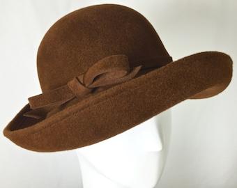 Brown Brandy Fur Felt Women's Cloche Hat, Gatsby Hat, Downton Abby Hat, Vintage Inspired by Makowsky Millinery