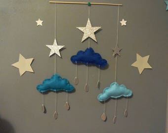 Mobile in blue and silver tones for wall decoration