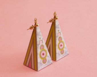 "Mod Earrings // 60s Inspired Earrings // Marble Earrings // Geometric Earrings // Op Art Earrings // Art Deco Earrings // The ""Hi-Fi"""