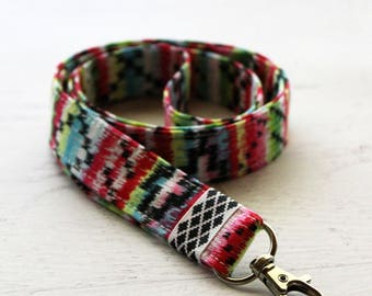 Rainbow lanyard with ID holder - cute lanyard - fashion lanyard - sarape lanyard - teachers lanyard - mexican lanyard - school lanyard