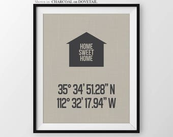 Personalized Longitude Latitude House Coordinates Print Housewarming Gift New Home Decor Gift For Couple House Warming Moving In Gift