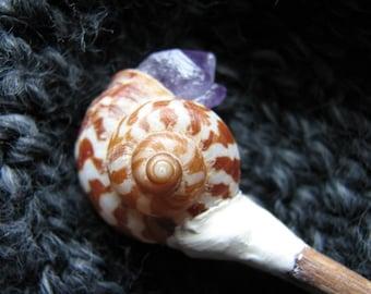 Amethyst cluster crystal   snail shell   raw crystal   shawl pin   hair stick   oak wood