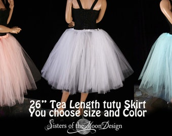 Adult tutu Tea length romance Petticoat skirt poofy bridal wedding flower girl dance prom -- You Choose size and color - Sisters of the Moon