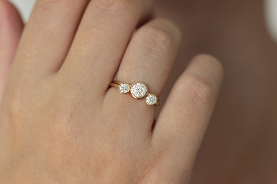 Rose Gold Engagement Ring Solitaire Diamond Ring Round Cut