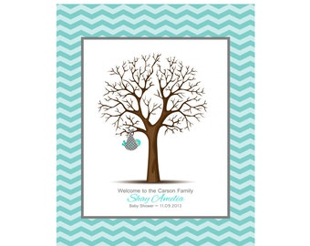 Baby Shower Thumbprint Tree with Chevron Faux Mat, Guest Book Alternative, Baby Guestbook, Nursery Decor 11X14
