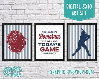 Printable 8x10 Americana Babe Ruth Baseball Quote Digital Art Set of 3 | High Resolution JPG Files, Instant Download, Ready to Print