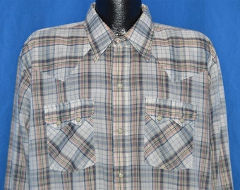 70s Dee Cee Blue Plaid Pearl Snap Shirt XXL
