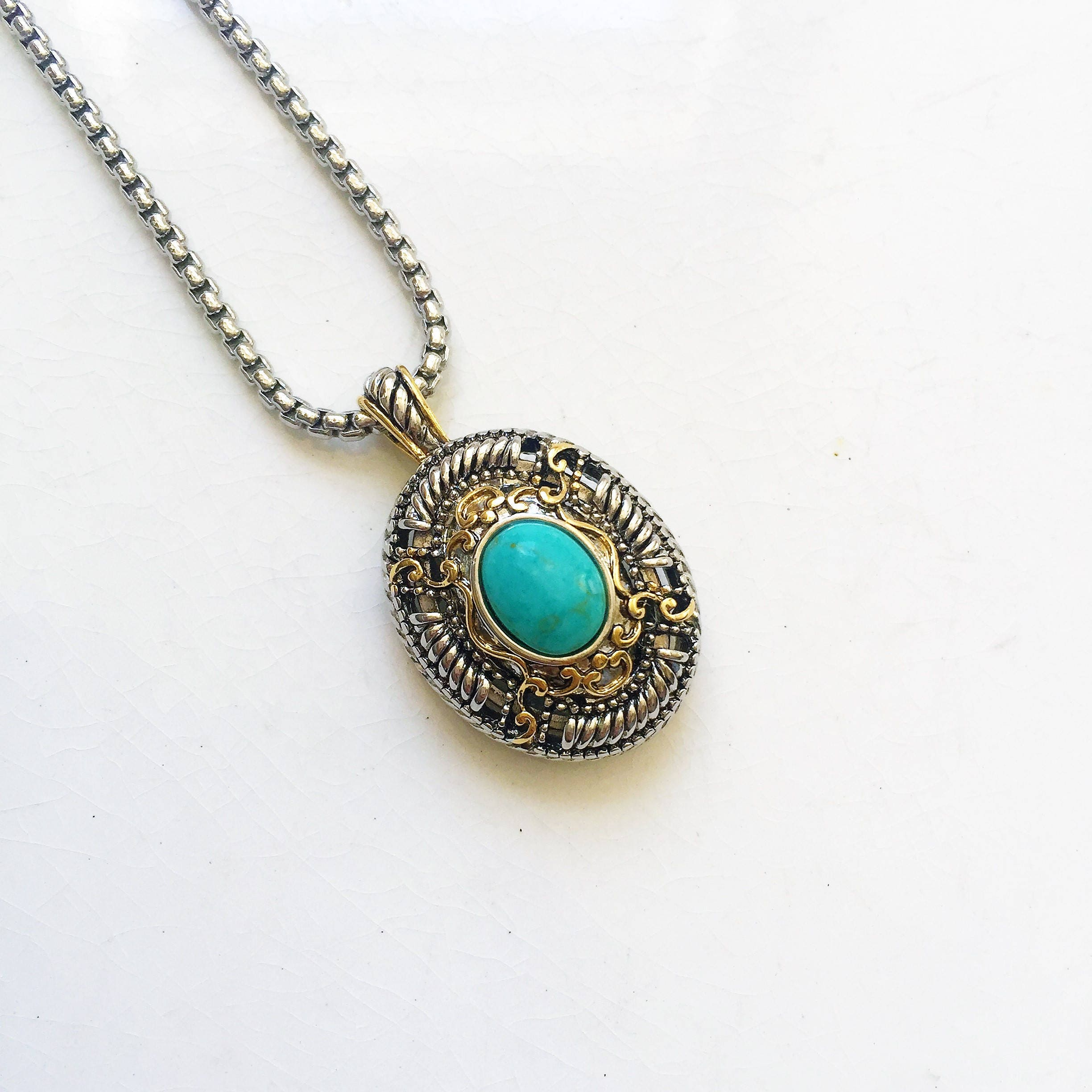 stone beaded turquoise necklace medallion with oval brown pin