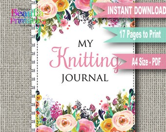 Knitting Journal Planner, Printable Knitting Journal, Knitting Notebook, Printable Planner, Printable PDF, Greeting Cards, Instant Download
