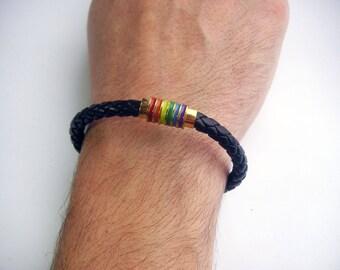 Men's Leather Bracelet ,Braided Bracelet, Gift for him, Magnetic Clasps, Boho