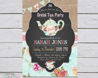 Bridal shower tea party invitation, bridal tea party invitations, Bridal shower invite, chalkboard invitation, bride to be, High Tea Shower