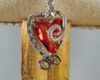 Silver Wire Wrapped Swarovski Heart Pendant