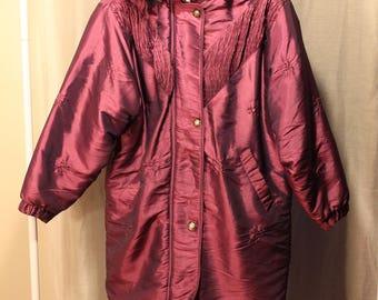 Vintage Ski Coat - Purple / Pink Retro Ski Coat - Iridescent - Sz M