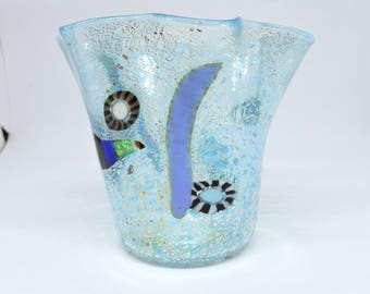 Mother's Day gift vase with corrugated edge, Murano glass, with murrine, vitreous canes and silver leaf. Murano blown glass, gift,