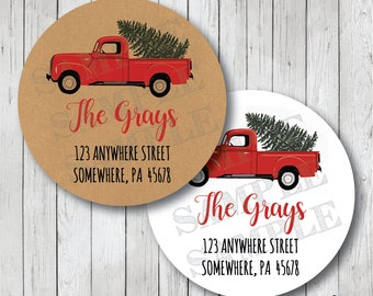 Christmas Address Labels, Vintage Truck & Tree Labels, Little Red Truck Return Address Stickers, White or Kraft